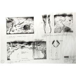 LOST Season One Set of 4 Original Cave Dwelling Production Blueprints