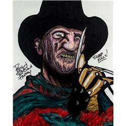A Nightmare on Elm Street Custom Freddy Krueger Painting Signed by Robert Englund