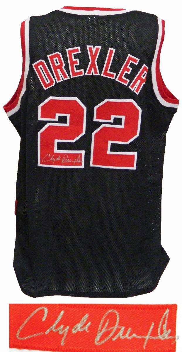 huge discount 8cbce 481f6 Clyde Drexler Signed Black Throwback Custom Basketball Jersey