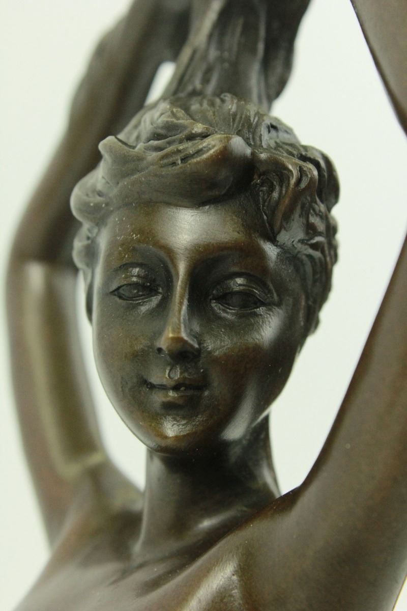 Angel Nude Girl with Swan Bronze on Marble Base Sculpture