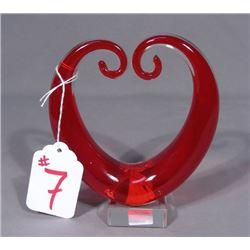 HAND BLOWN ART GLASS SCULPTURE OF HEART