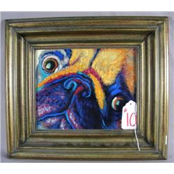 HUMOROUS OIL ON CANVAS:  COLORFUL PUG FACE