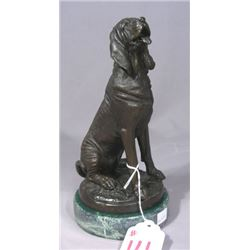 ADORABLE BRONZE SCULPTURE OF SEATED DOG