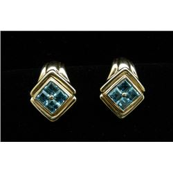 PAIR LADIES 14K YELLOW GOLD AND BLUE TOPAZ EARRINGS