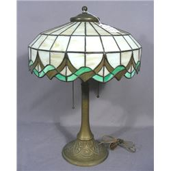 ANTIQUE METAL AND LEADED GLASS TABLE LAMP