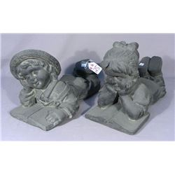 PAIR OF OUTDOOR COMPOSITION SCULPTURES:  BOY AND GIRL