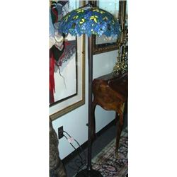 FINE METAL AND LEADED GLASS FLOOR LAMP