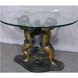 SMALL SCALE BRONZE DOUBLE CUPID TABLE WITH GLASS TOP