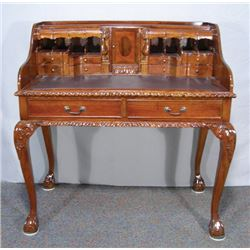 HAND CARVED CHIPPENDALE STYLE MAHOGANY DESK