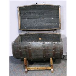 LARGE CUSTOM MADE WHISKEY BARREL COOLER WITH HEAVY