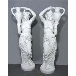 OUTSTANDING PAIR OF ITALIAN MARBLE STANDING GIRLS