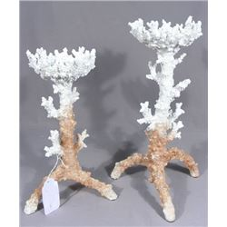 PAIR OF FAUX CORAL MOTIF CANDLE HOLDERS