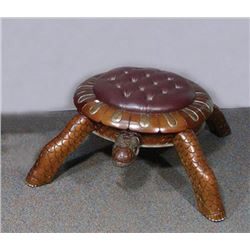 "HUMOROUS HAND CARVED AND LEATHER ""TURTLE"" FOOT STOOL"