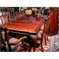 VERY FINE HAND CARVED MAHOGANY NINE PIECE DINNING ROOM