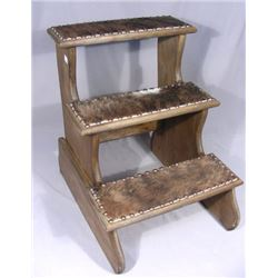 CUSTOM MADE CARVED WOOD AND ANIMAL HIDE STEP STOOL