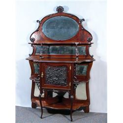 ANTIQUE HAND CARVED SIDEBOARD WITH BEVELED GLASS