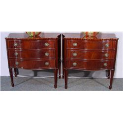 PAIR FINE CARVED MAHOGANY NIGHT STANDS