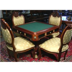 BEAUTIFUL FIVE PIECE ITALIAN GAME TABLE WITH FOUR