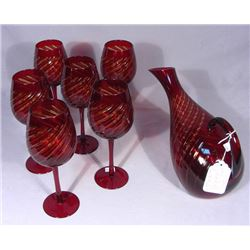 7 PIECE RUBY OVERLAY CRYSTAL DECANTER SET