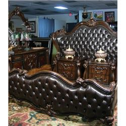 OUTSTANDING FIVE PIECE ORNATELY CARVED BEDROOM SET