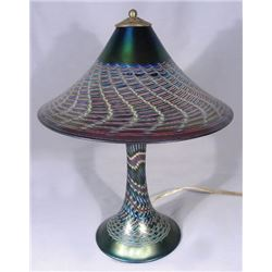 BEAUTIFUL HAND BLOWN ART GLASS TABLE LAMP