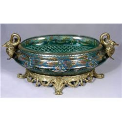 OUTSTANDING FRENCH HAND PAINTED EMERALD CRYSTAL OVERLAY