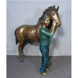 ADORABLE BRONZE SCULPTURE OF YOUNG GIRL WITH PONY