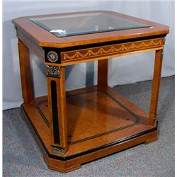 ITALIAN INLAID SIDE TABLE WITH INSET BEVELED GLASS TOP