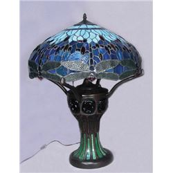 FINE LEADED GLASS DRAGONFLY TABLE LAMP