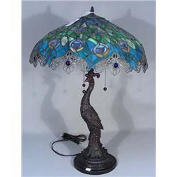 "LEADED GLASS ""PEACOCK"" MOTIF TABLE LAMP"
