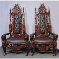 PAIR HAND CARVED AND LEATHER PALACE STYLE CHAIRS