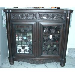 DECORATIVE HAND CARVED WOOD AND METAL WINE CABINET