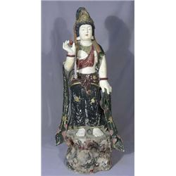 VINTAGE CHINESE CARVED WOOD AND HAND PAINTED QUAN YIN