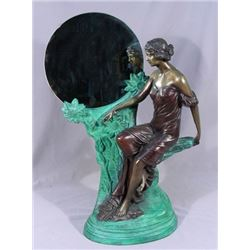 ART NOUVEAU STYLE BRONZE SCULLPTURE OF WOMAN WITH