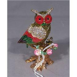 FINE ENAMEL AND RHINESTONE OWL TRINKET BOX