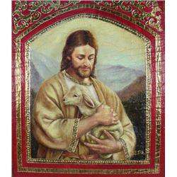 ORIGINAL OIL ON CANVAS:  JESUS WITH LAMB