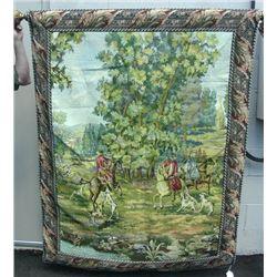 LARGE TAPESTRY WITH ORNATE GILT ROD & MOUNTS