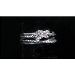 DESIGNER DAVID YURMAN STERLING SILVER & DIAMOND RING