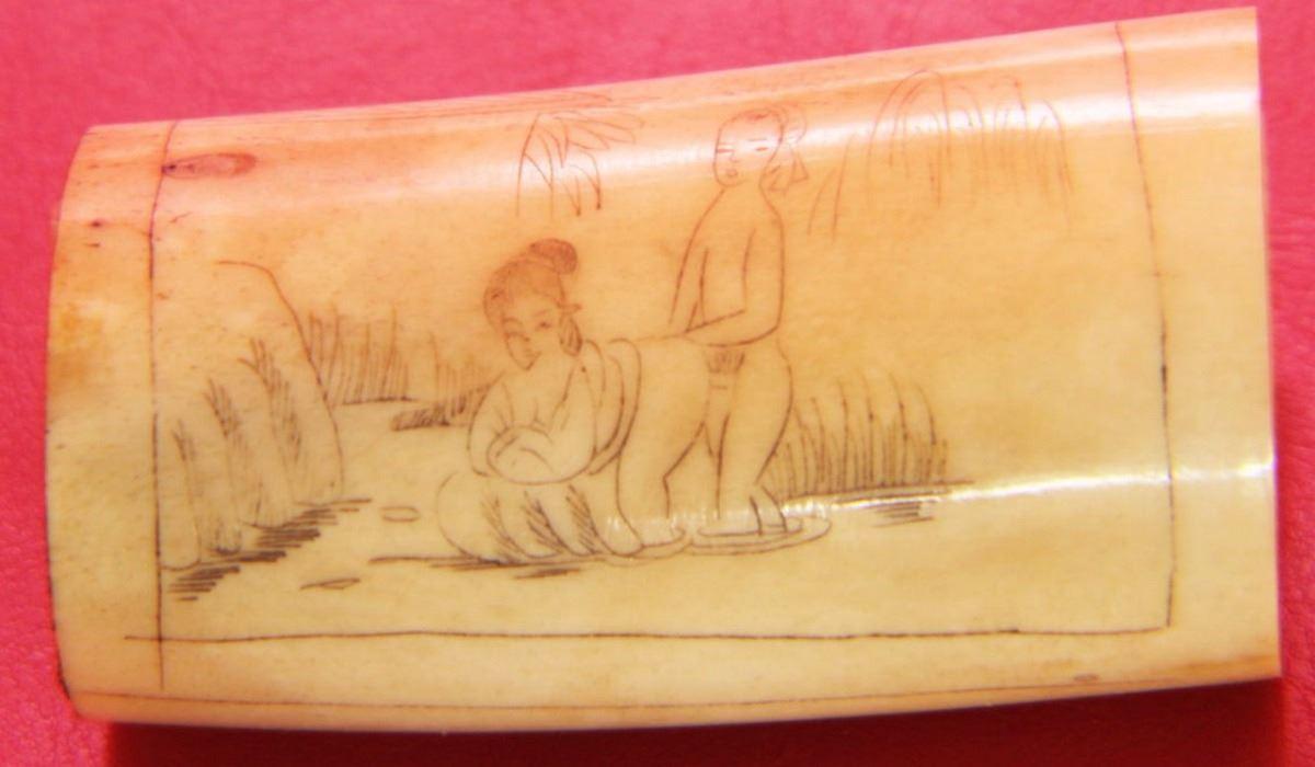Ancient Erotic Bone Carving Art 87mm
