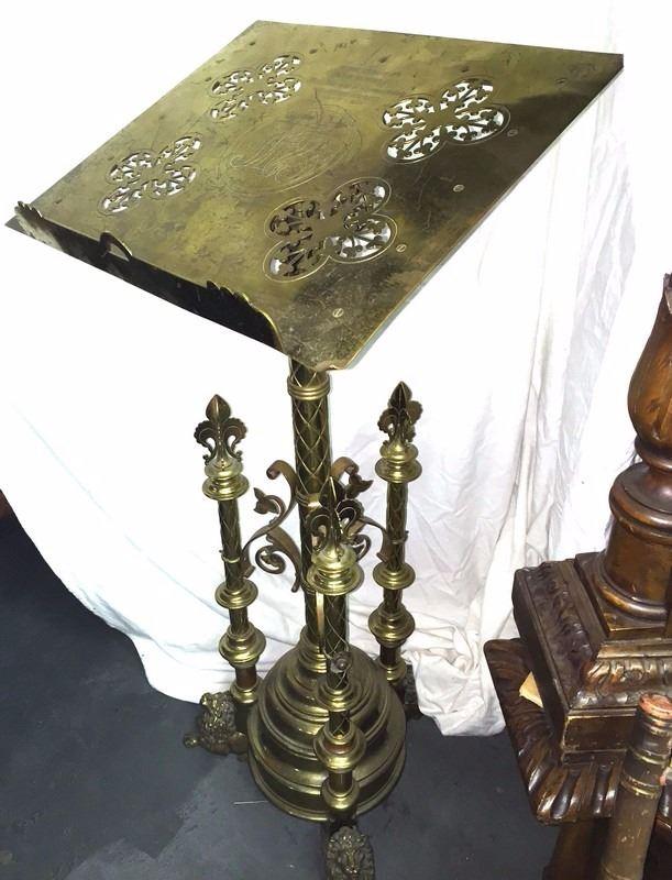 Antique c1889 Solid Brass Gothic Bible Pillar/Sermon Stand