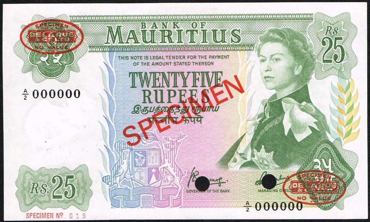 Mauritius, 25 Rupees, ND(1967), Pick# 32s, SPECIMEN NO  013, Bank of  Mauritius, SL# A/2 000000, AU