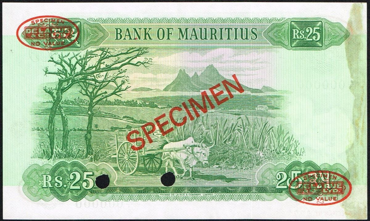 Mauritius, 25 Rupees, ND(1967), Pick# 32s, SPECIMEN NO  0001, Bank of  Mauritius, SL# A/3 000000, X