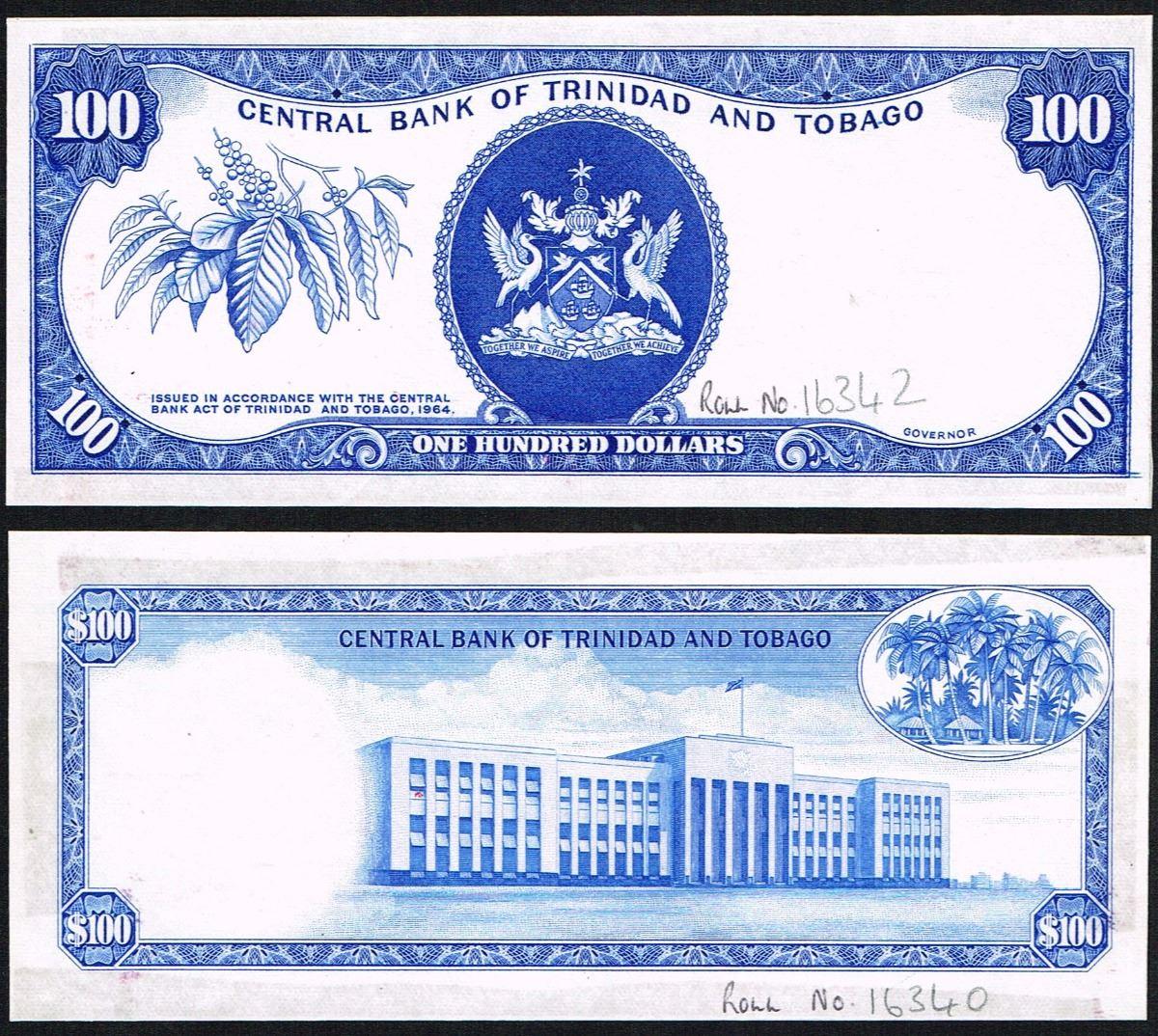 Trinidad and Tobago, 100 Dollars, 1977, Pick# like 35, PROGRESSIVE PROOF ON  OBVERSE & REVERSE, UNC