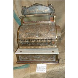 1909 Brass National Cash Register-All Original-Everything Works-Key-Was used in various businesses i