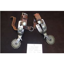 Heavy Banded Crockett Spurs- 4 Nickel Conchos on Each Spur-Straps