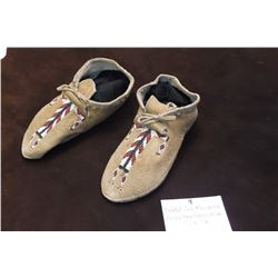 "Beaded Cree Moccasins- Rocky Boy Reservation- 9"" L X 3"" W"