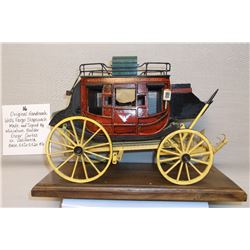 Original Hand Made Wells Fargo Stagecoach- Made and Signed by Miniature Builder Oscar Cortes in Cali