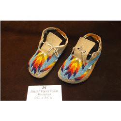 "Beaded Plains Indian Moccasins 7.5""L X 3.5""W"