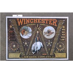 "Tin Winchester Repeating Arms Advertising Sign- 23"" X 16"""