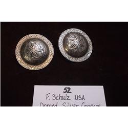 """F. Schultz USA Domed Silver Conchos  2 1/8"""""""